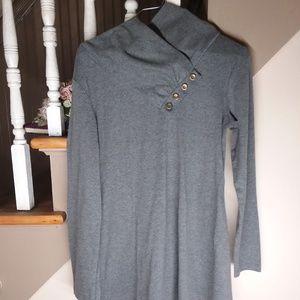 Miusey Cowl Neck Sweater,Grey Tunic Sweater,Size M
